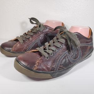 True Religion Mens 9.5 Brown Leather Sneakers